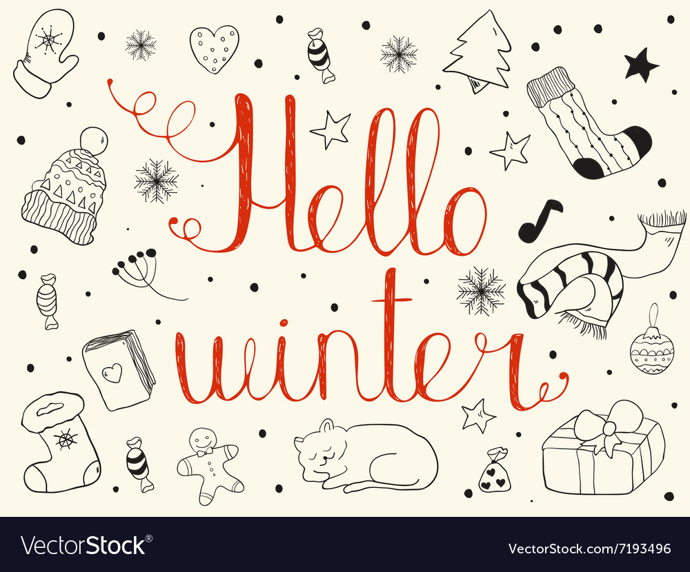 Hello winter Hand drawn invitation or greeting vector image