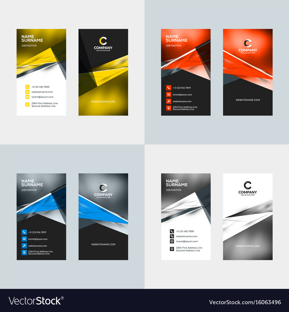 Vertical business card template flat style vector image cheaphphosting Image collections