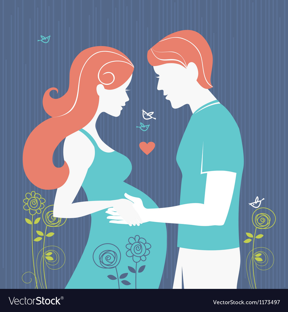 Silhouette of pregnant woman and her husband vector image