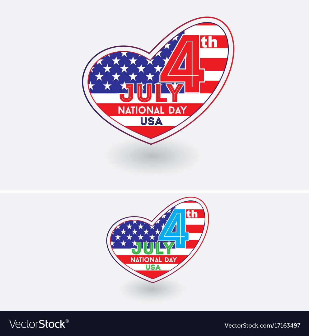 4th july usa national day with heart symbol vector image