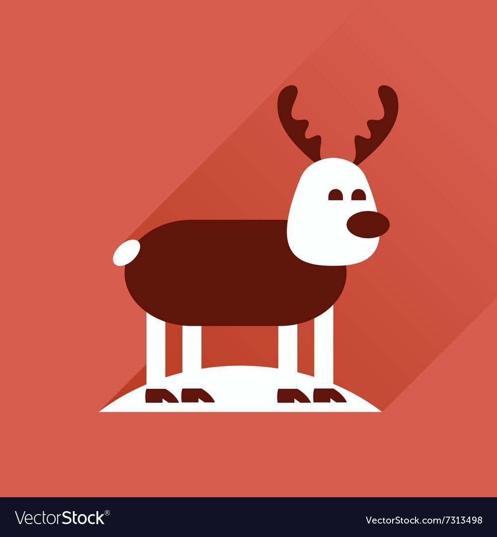 Flat icon with long shadow Christmas deer