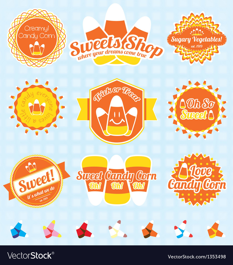 Candy Corn Labels and Icons vector image