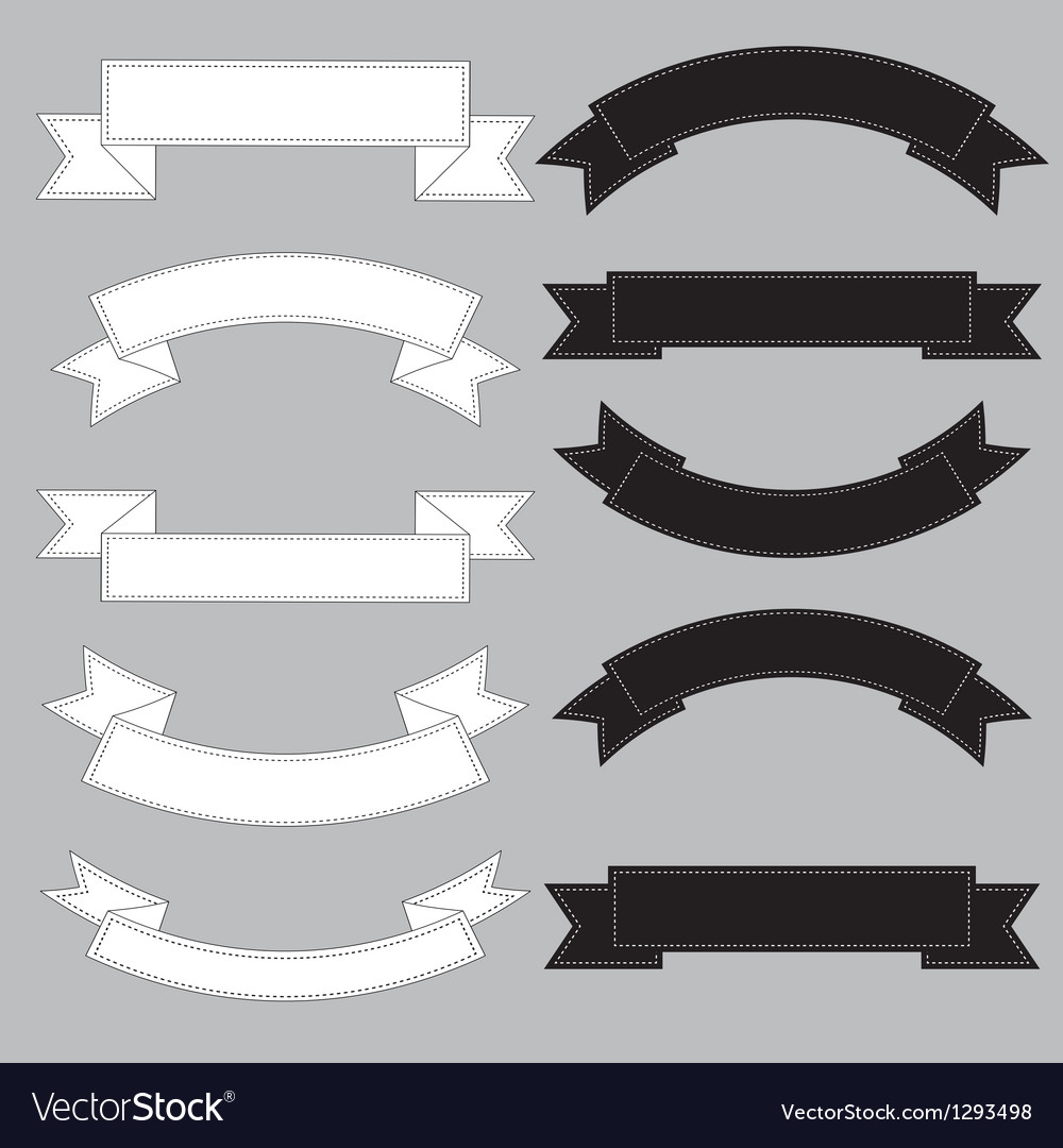 Old ribbon banner black and white eps10 vector image