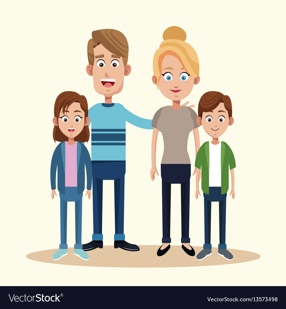 Parents with son daughter together vector image