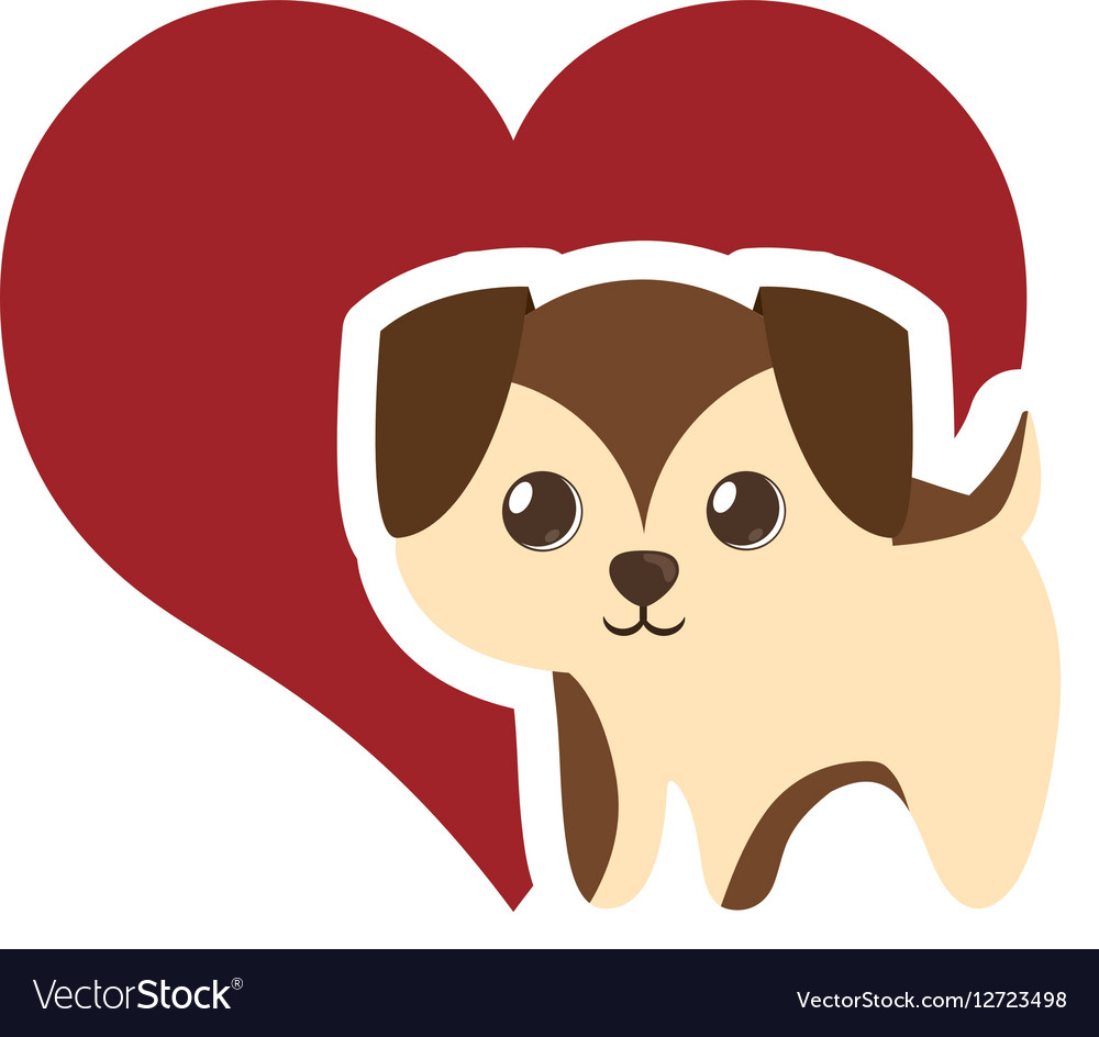 Puppy adorable pedigree red heart vector image