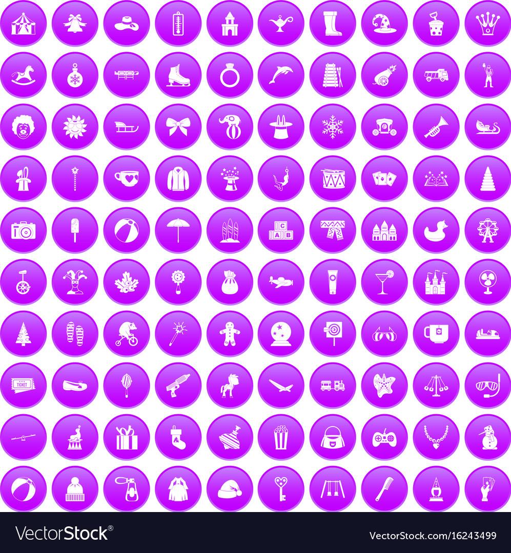 100 children icons set purple vector image