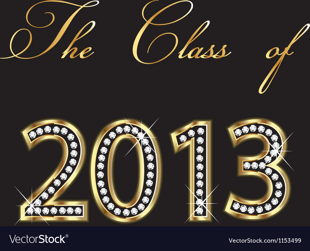 The class of 2013 gold and diamonds design vector image