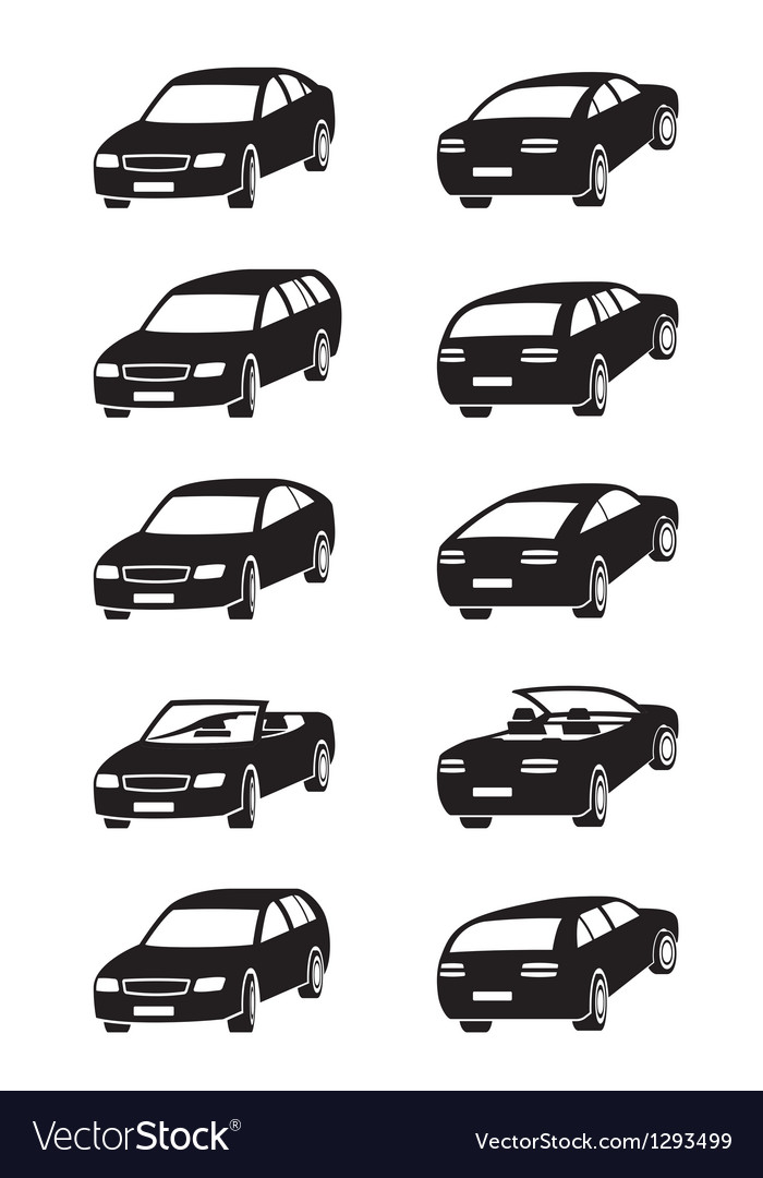 Different cars in perspective Vector Image