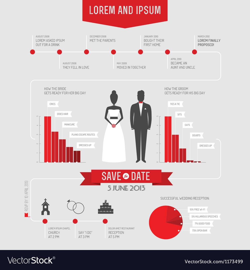 Funny infographics style wedding invitation vector image