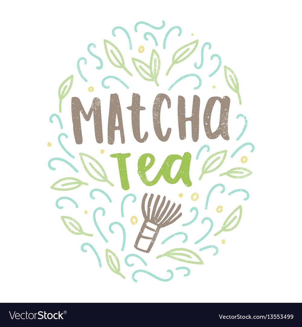 Matcha tea label vector image