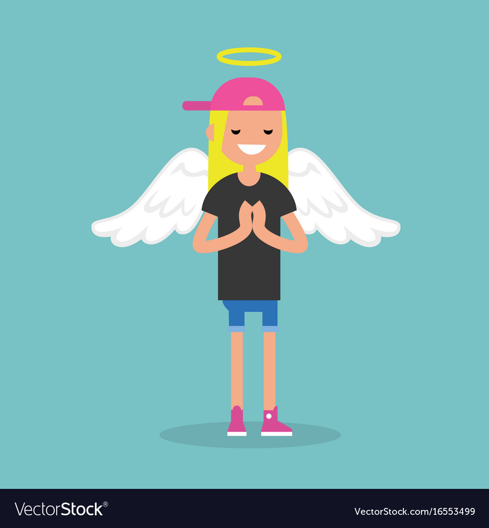 Young female character wearing angel costume vector image
