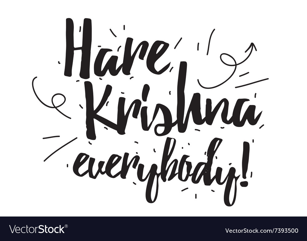 Hare krishna greeting card with calligraphy hand vector image kristyandbryce Gallery