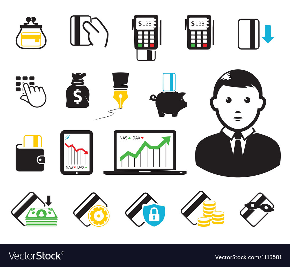 Business set vector image