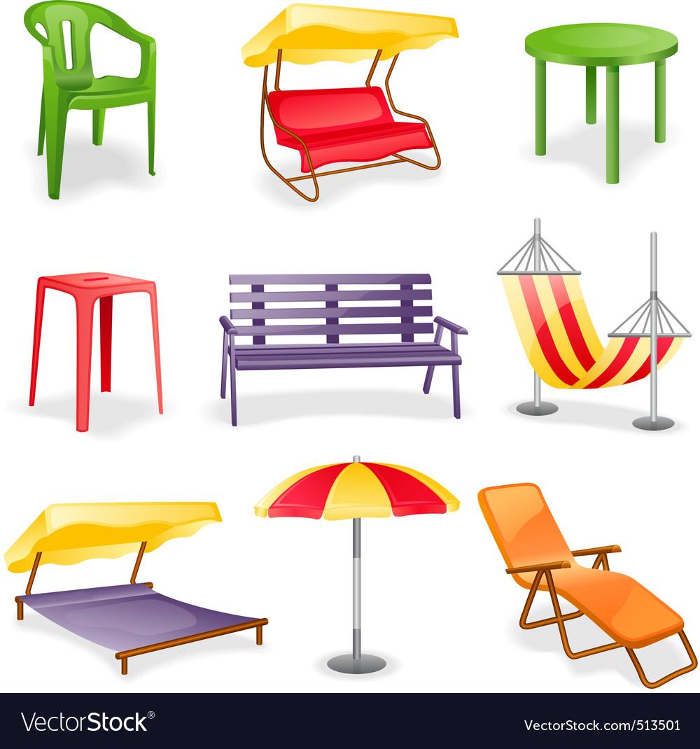 Garden furniture icon set vector image