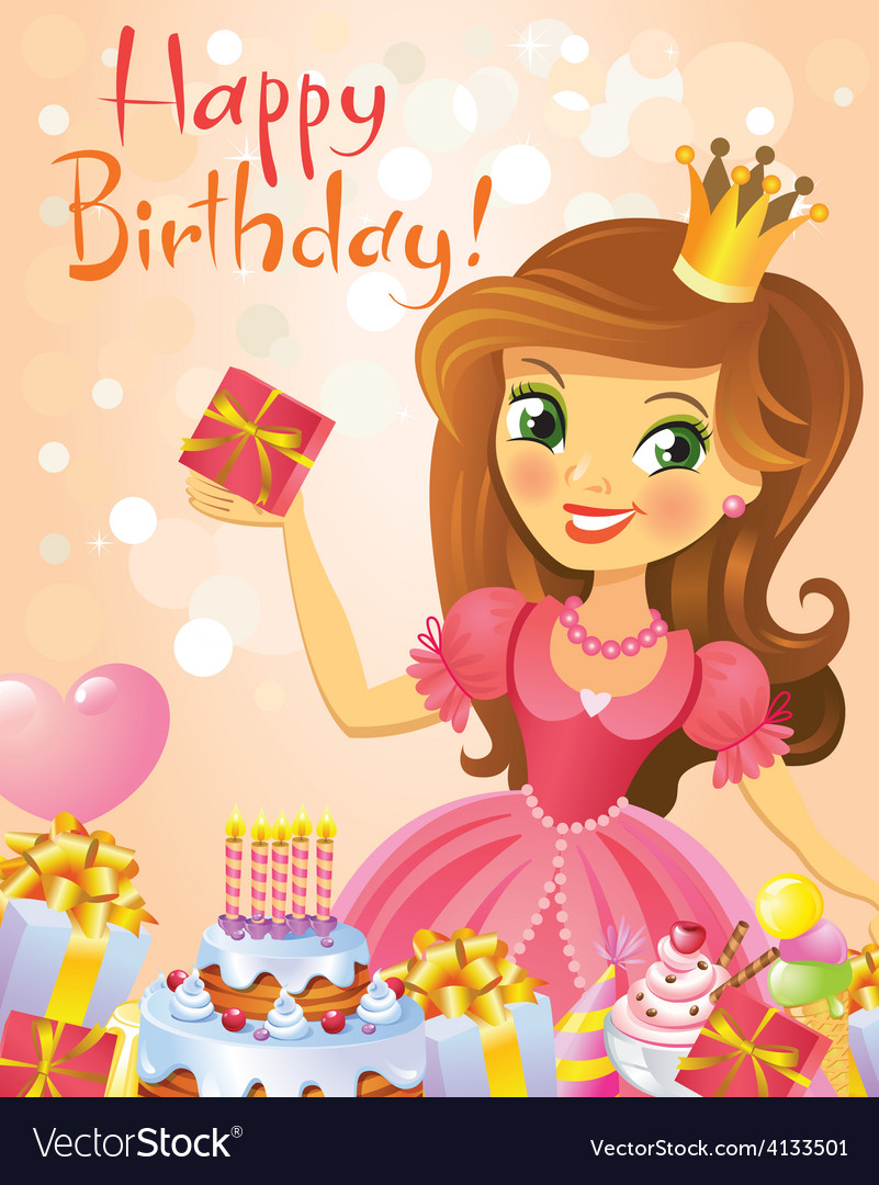 Happy birthday princess greeting card royalty free vector happy birthday princess greeting card vector image bookmarktalkfo Choice Image