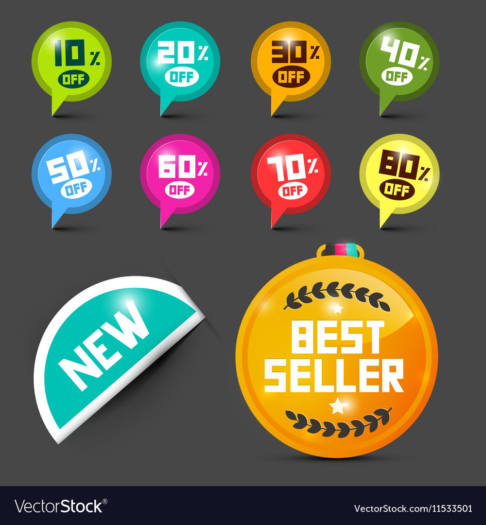 Labels Set Price Tags Discount Icons with Paper vector image