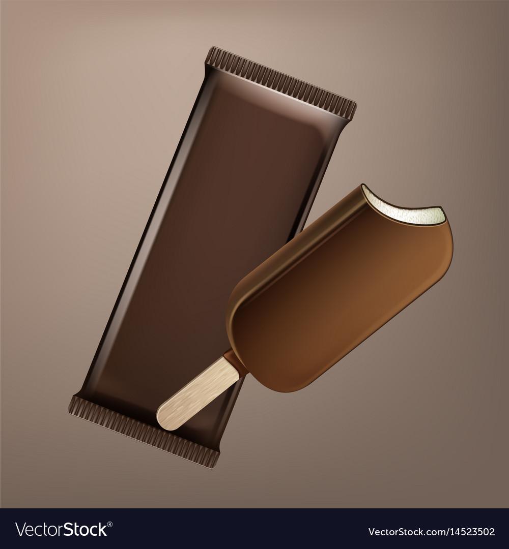 Choc-ice lollipop in chocolate glaze on stick vector image