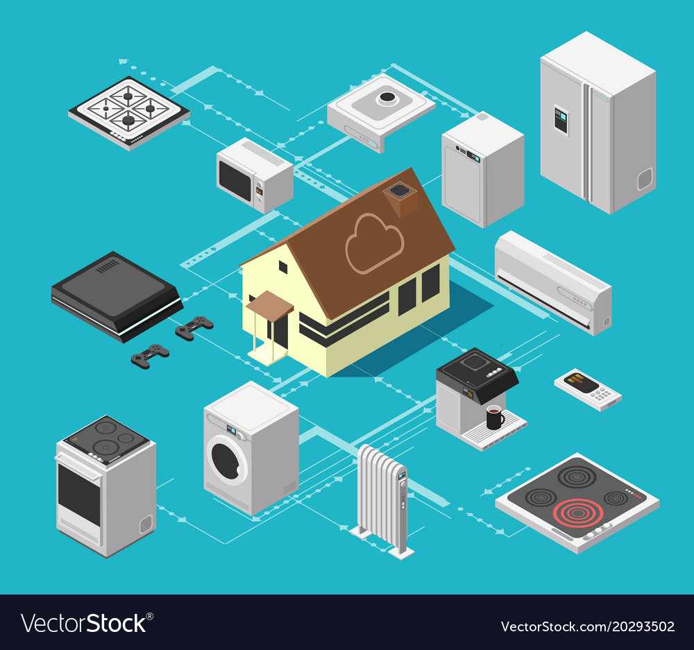 Smart house technology system and wireless Vector Image
