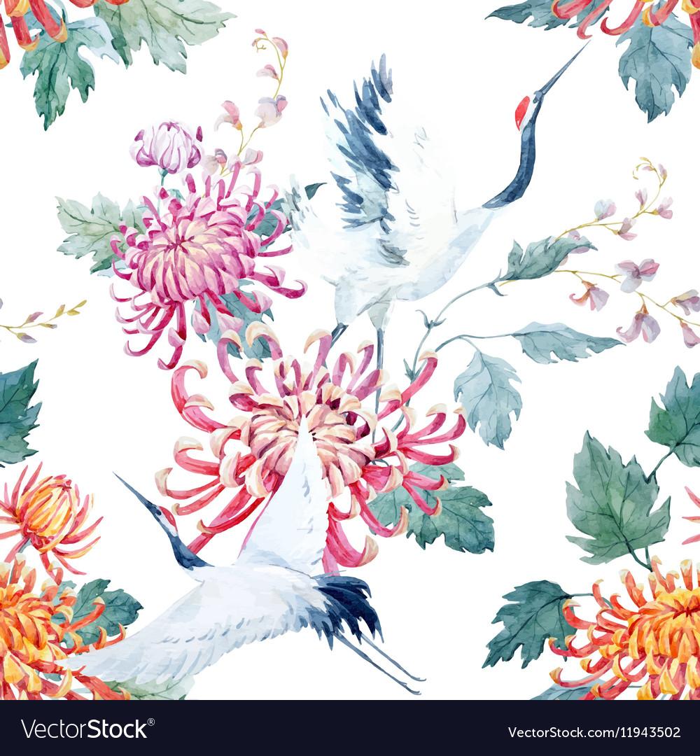 Watercolor crane pattern vector image