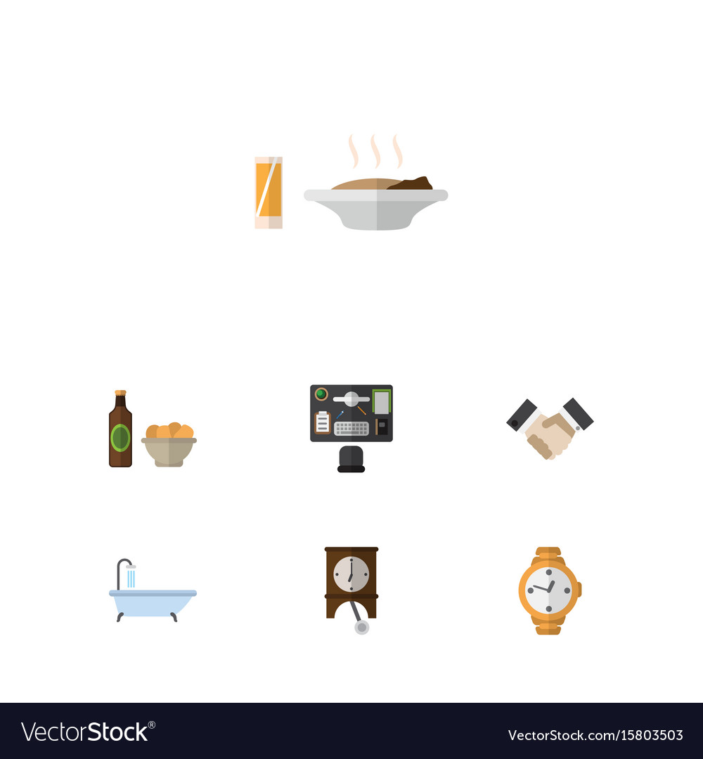 Flat icon life set of beer with chips timer vector image