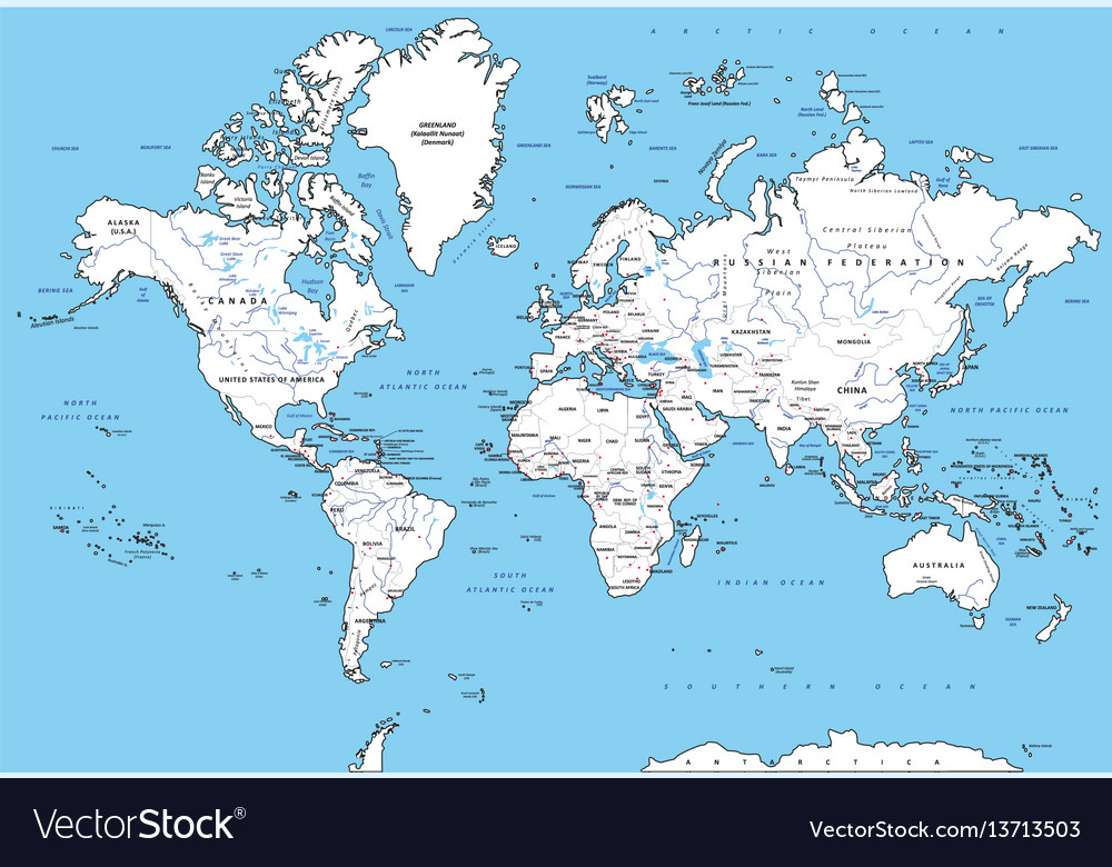 Highly Detailed Political World Map With Capitals Vector Image - World map with capitals