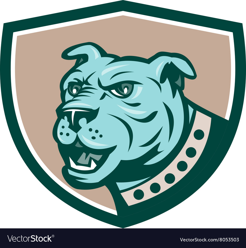Mastiff Dog Mongrel Head Side Crest Cartoon vector image