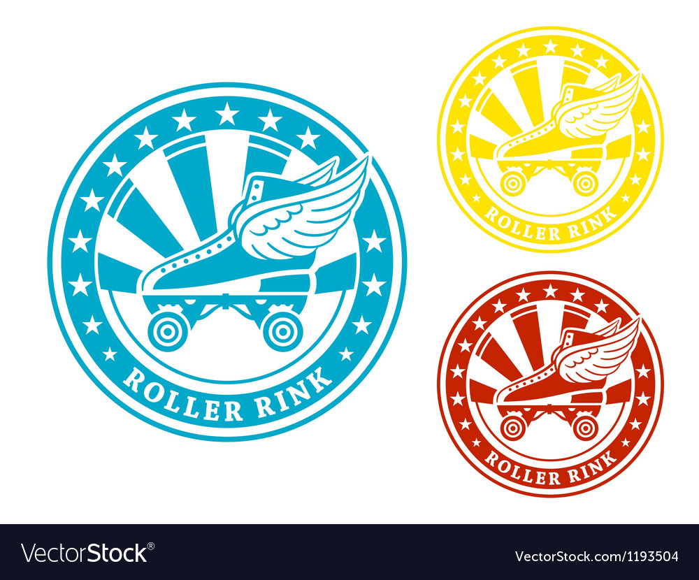 Roller rink label vector image