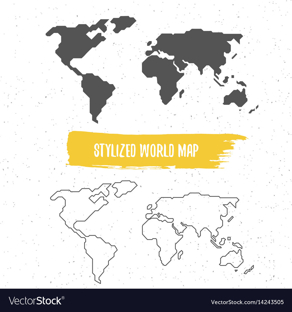Stylized world map royalty free vector image vectorstock stylized world map vector image sciox Image collections