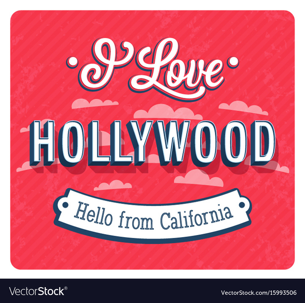 Vintage greeting card from hollywood vector image