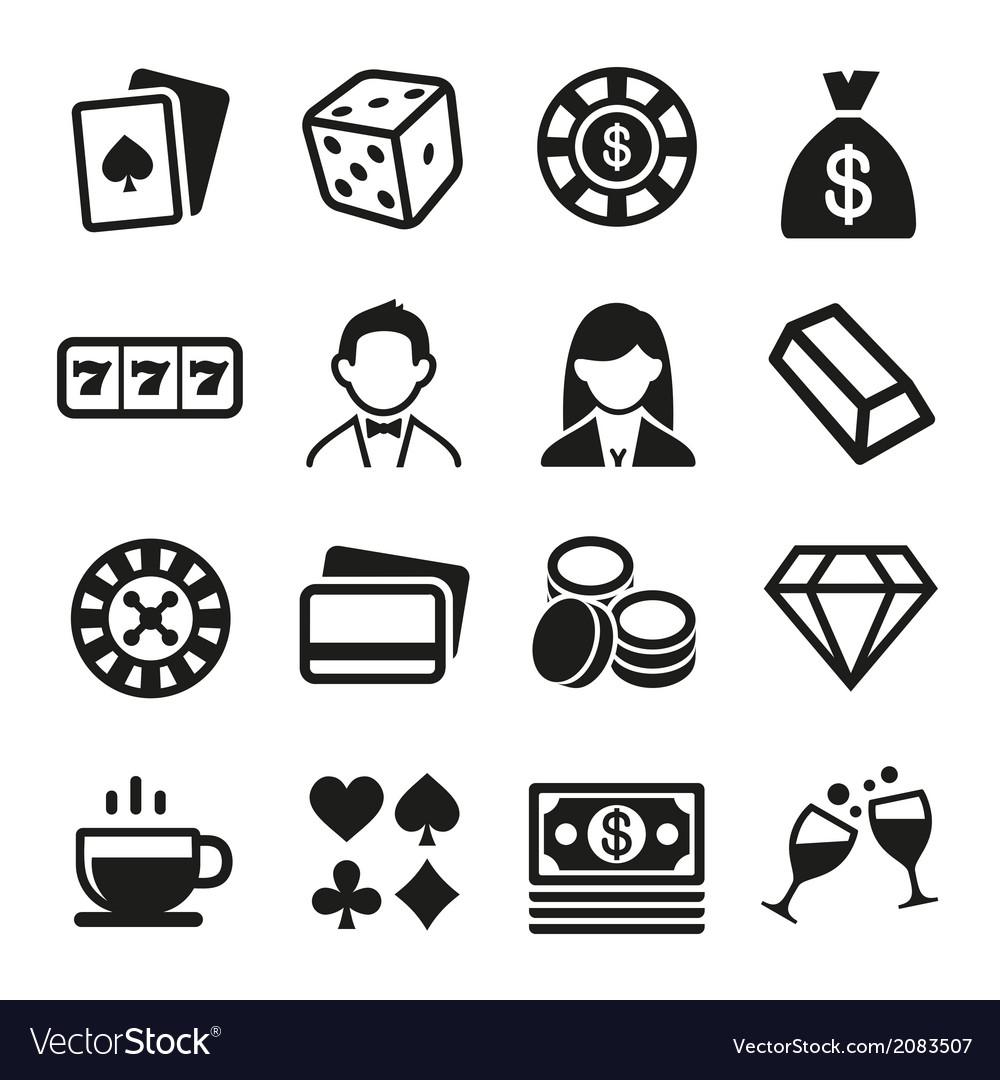 Gambling and Casino Icons Set vector image