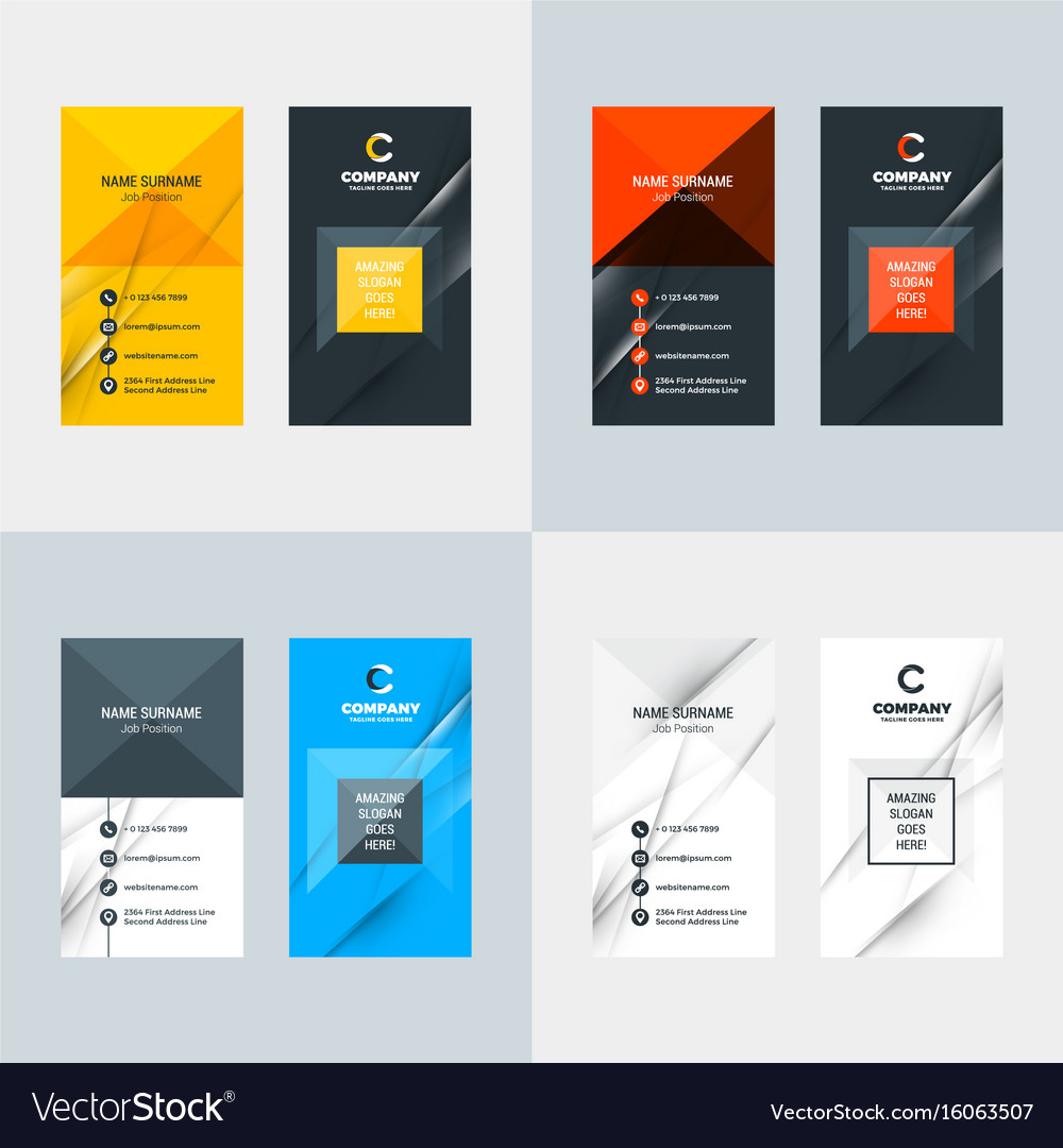 Vertical business card template flat style Vector Image