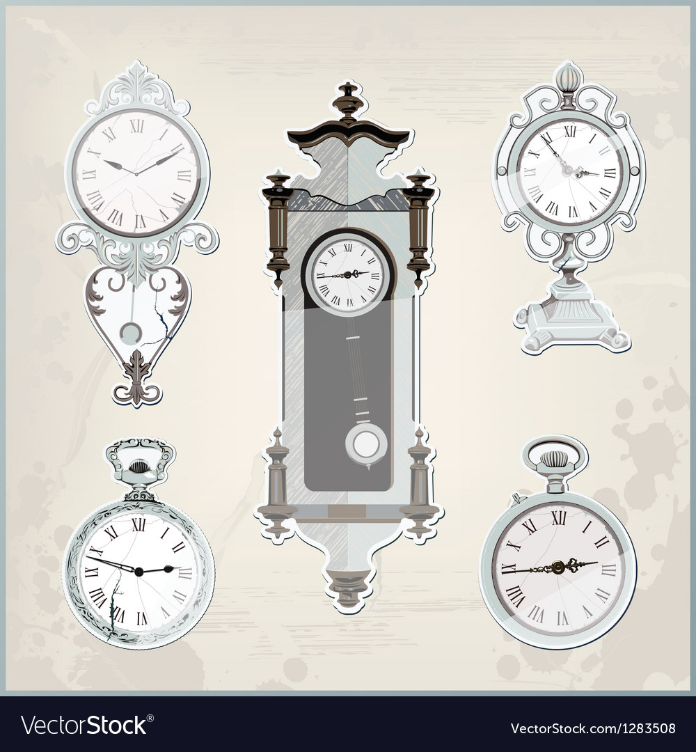 Set of many vintage retro clocks vector image