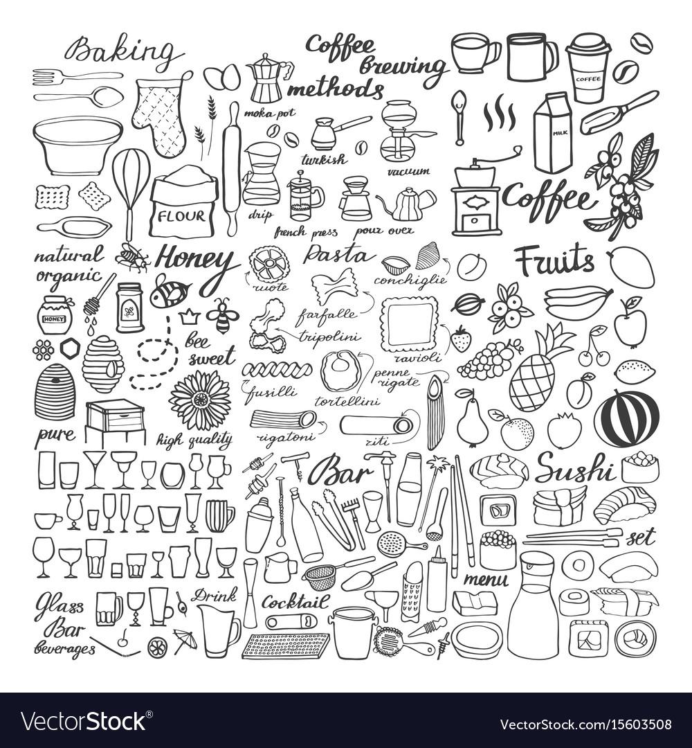 Big food sketch set doodle drawings of food vector image