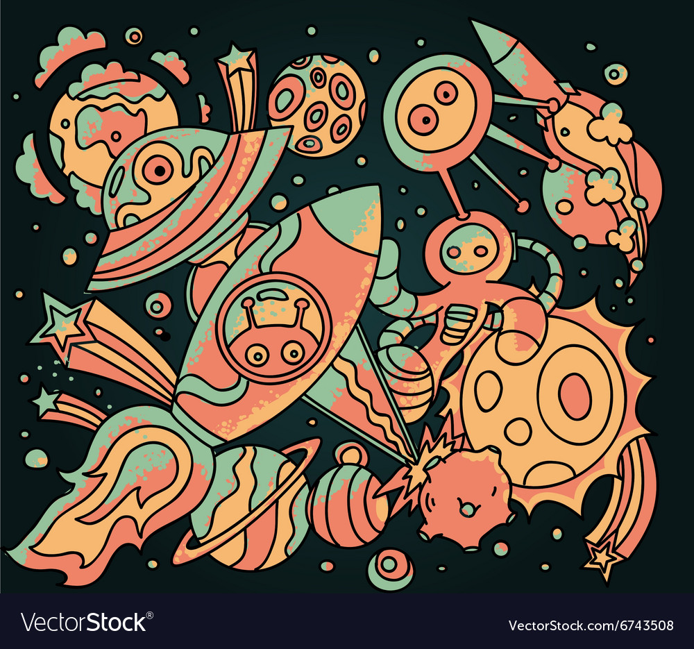 Space doodles vector image