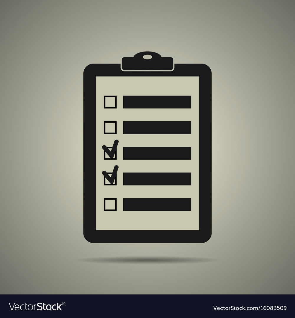 Checklist icon in black and white style vector image