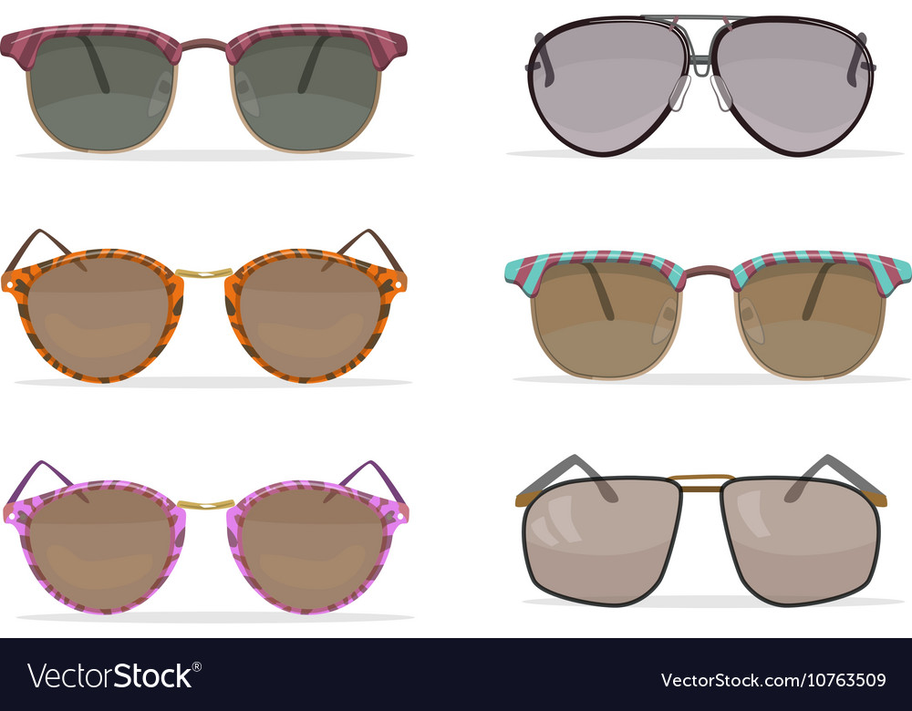 Old school sunglasses set vector image