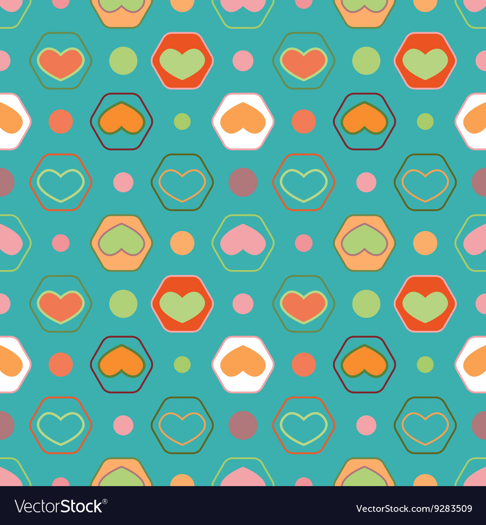 Retro seamless geometric pattern with hearts vector image