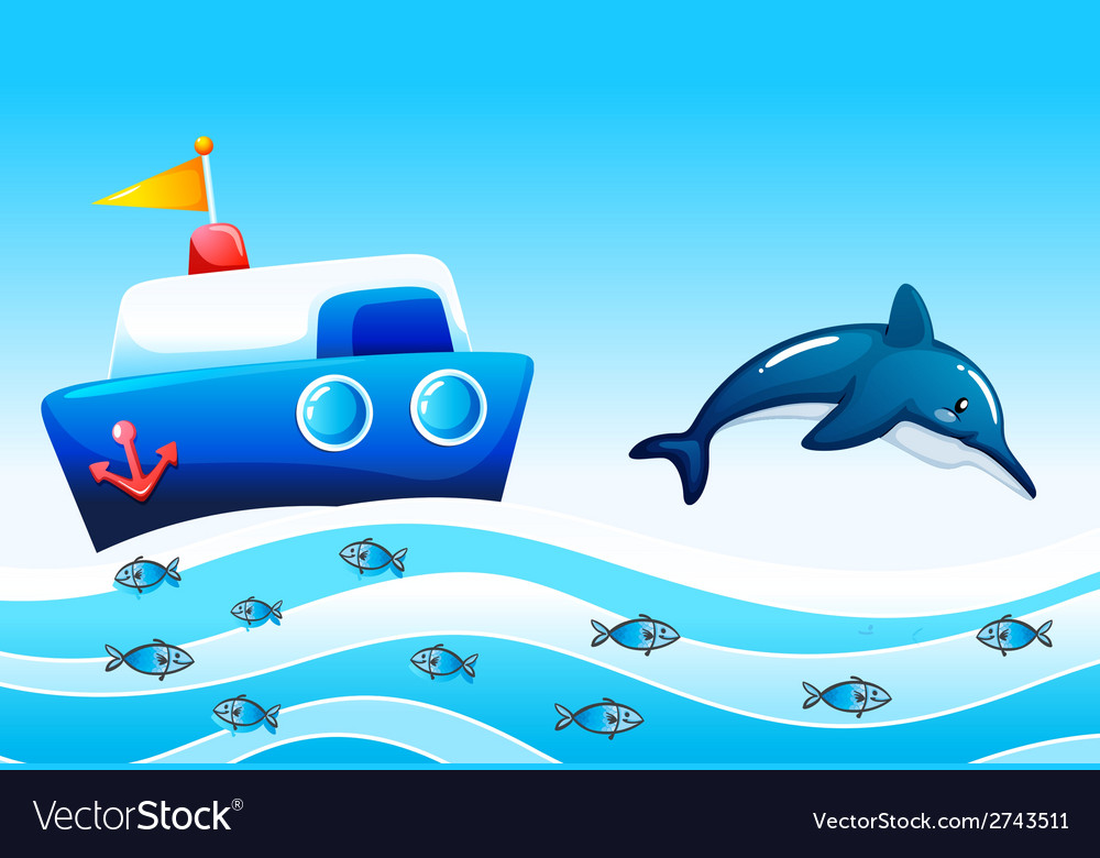 A sea with fishes and a ship vector image