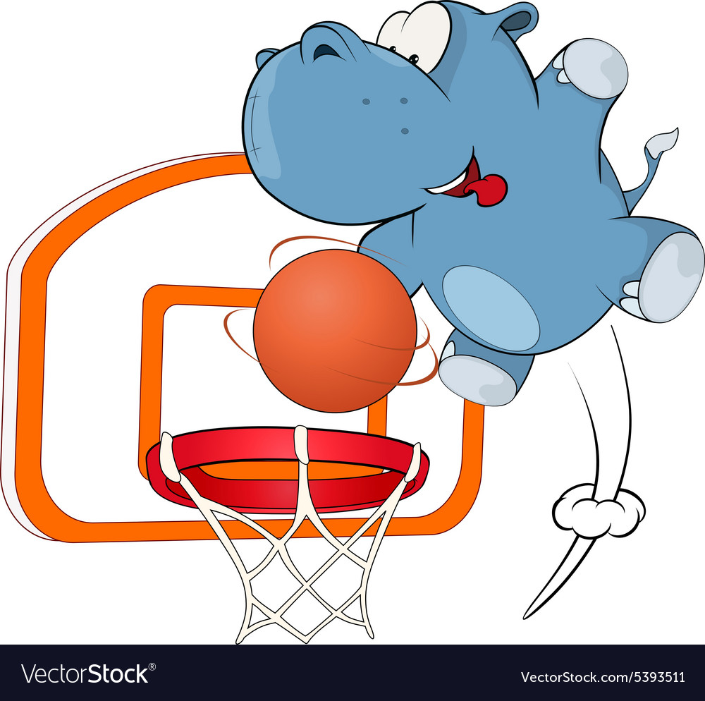 Little hippo basketball player cartoon vector image