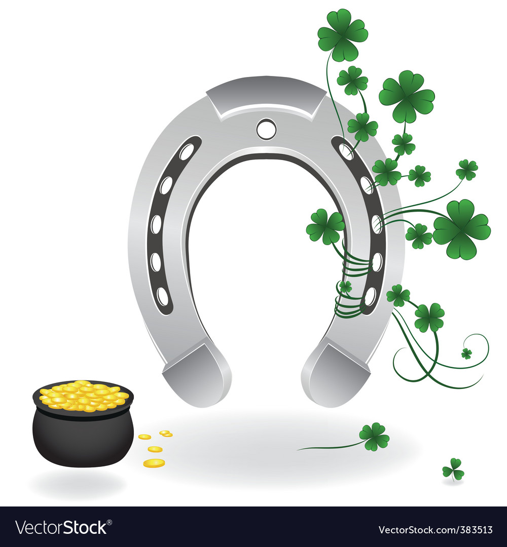 horseshoe and four leaf clover royalty free vector image