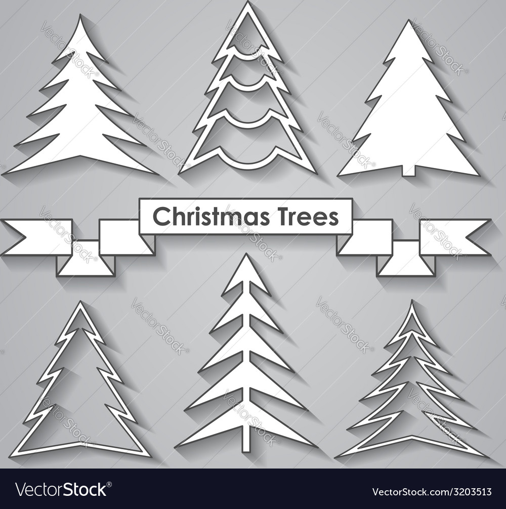Set of Christmas trees Flat design vector image