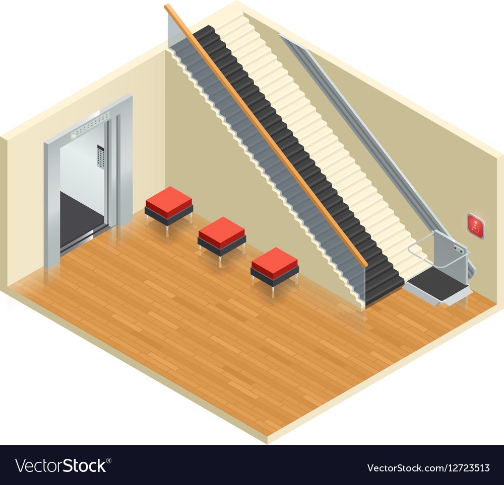 Stairway Elevator Isometric Interior vector image