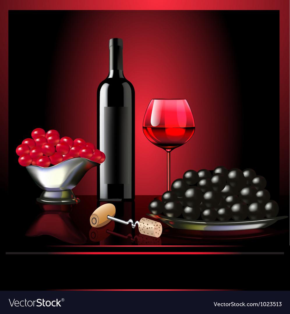 Wine goblet grape on dark background vector image