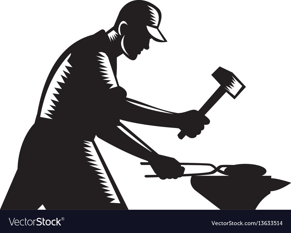Blacksmith worker forging iron black and white vector image