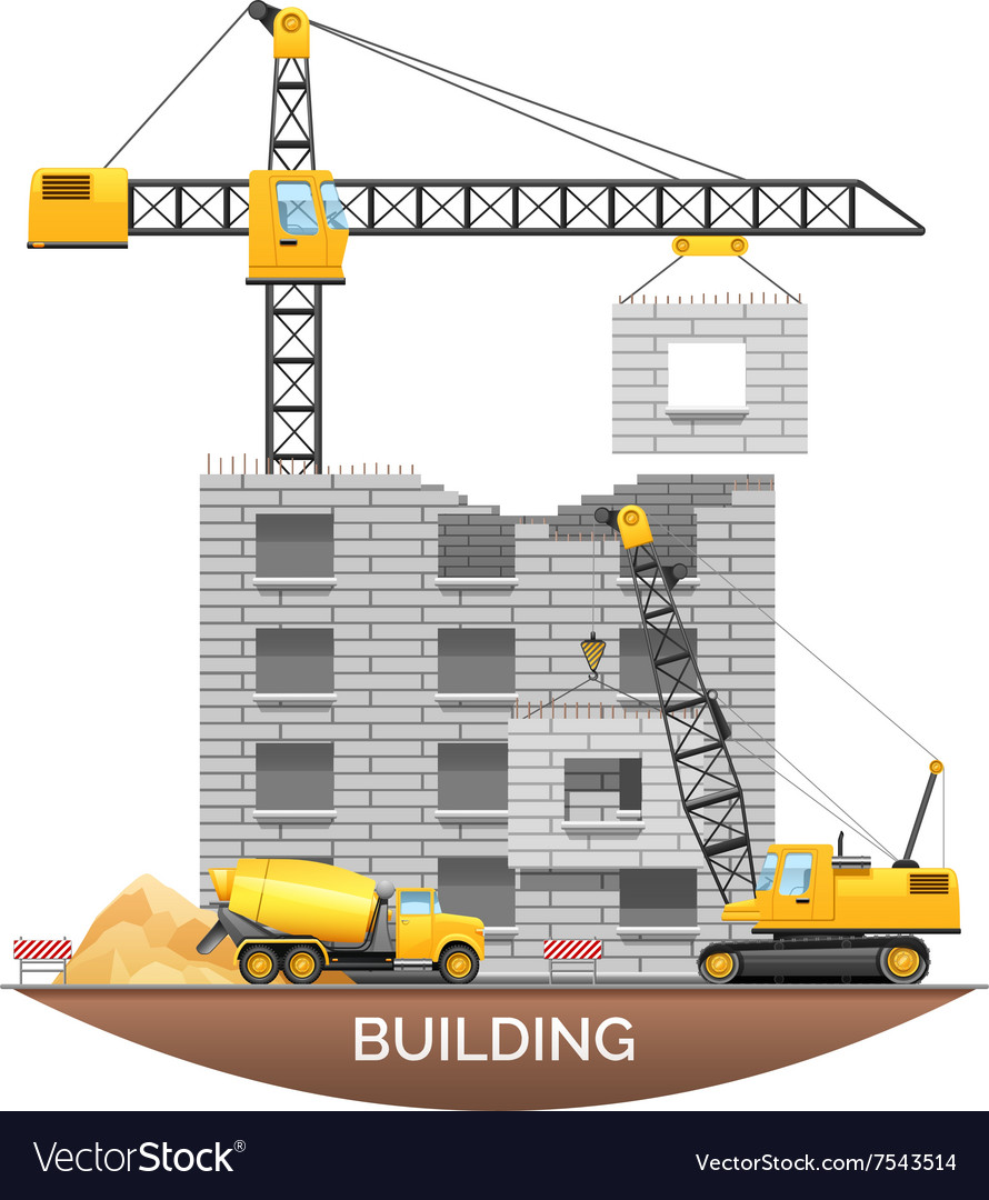 Building Construction Machinery Flat vector image