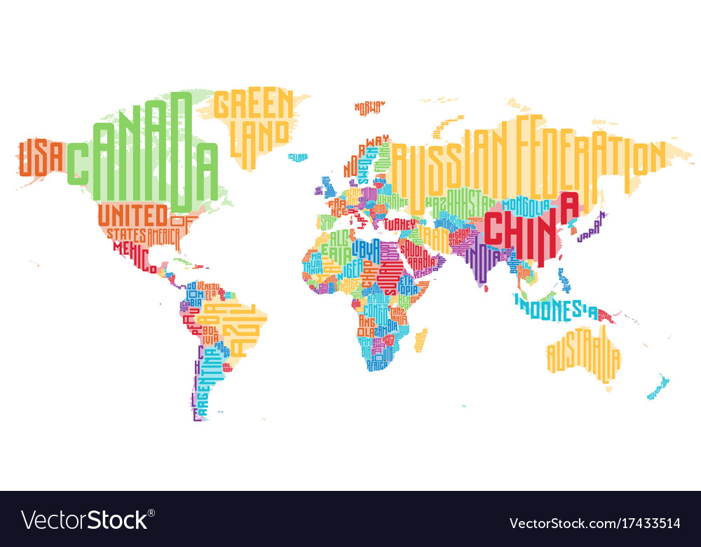 World map made of typographic country names vector image gumiabroncs Gallery