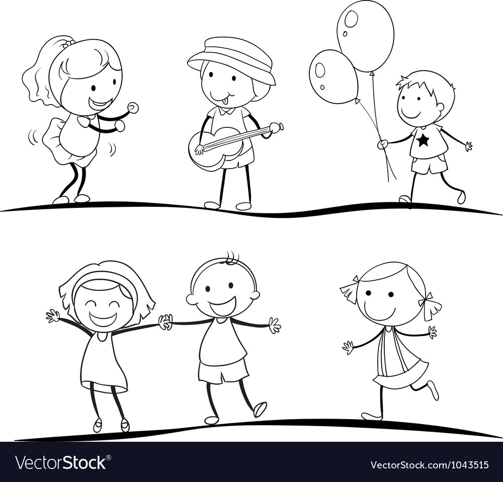 sketches of kids vector image - Sketches Of Kids