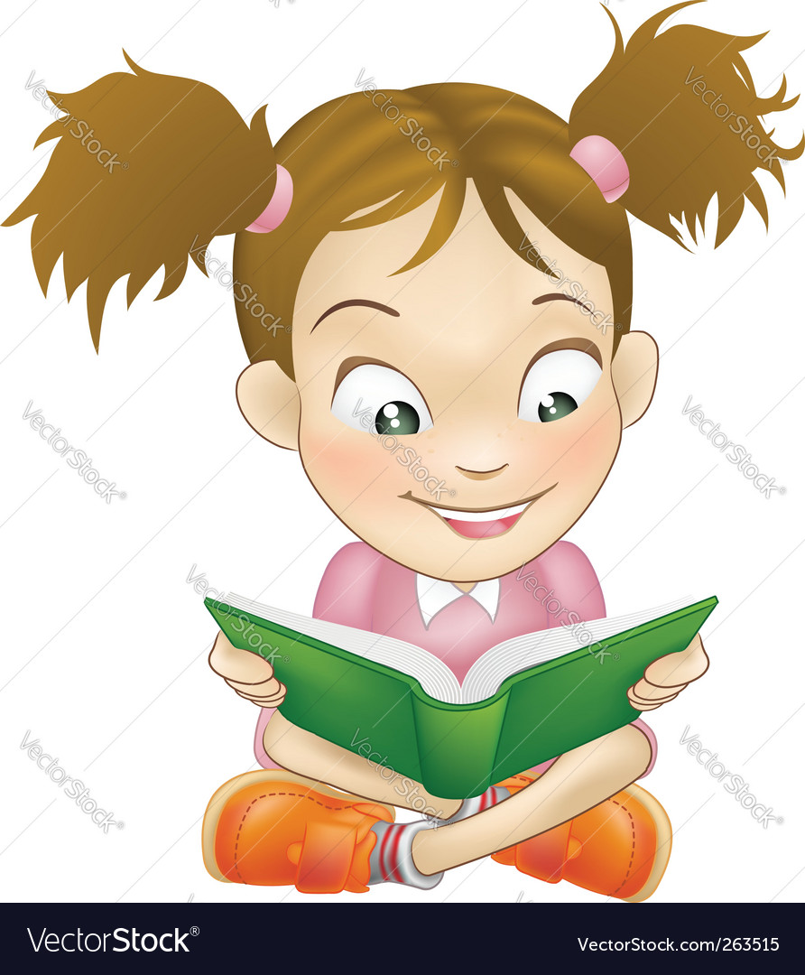 Girl Reading Book Vector. Artist: Vectron; File type: Vector EPS
