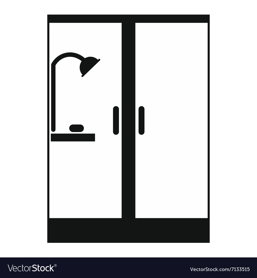 Shower cabin black simple icon vector image
