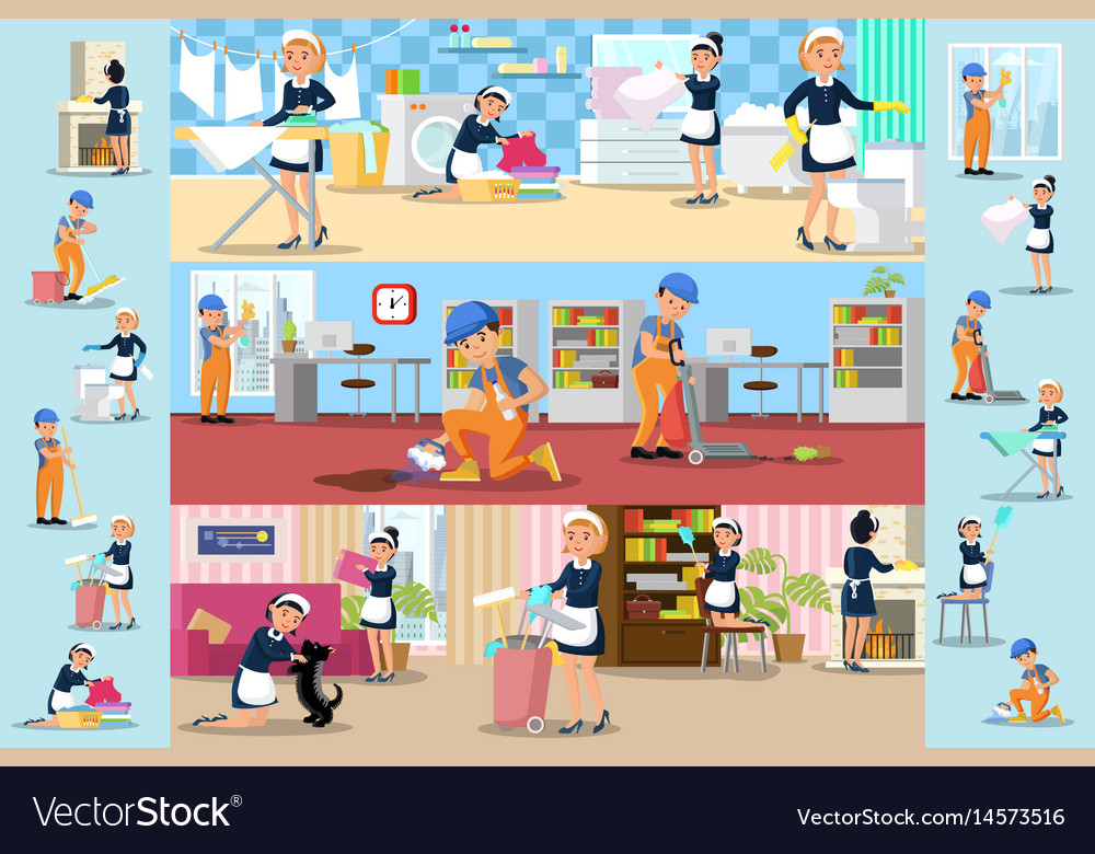 Cleaning company brochures vector image